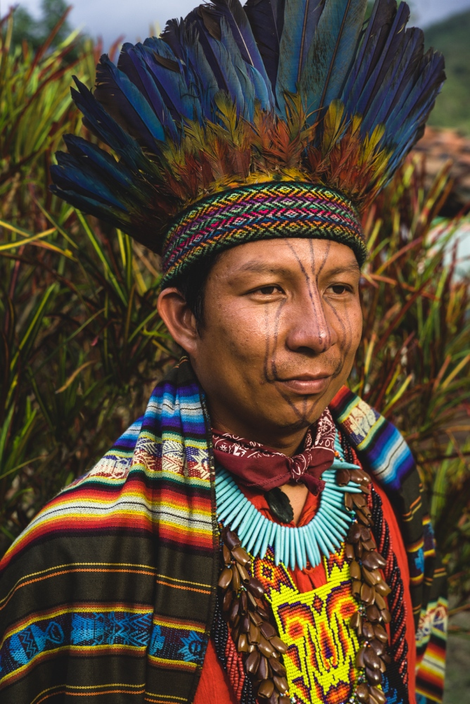 Taita Andres of the indigenous Embera people. Although young he is recognized as one of the high priests of his people, holding vast information about plant medicines and the invisible spirit world.