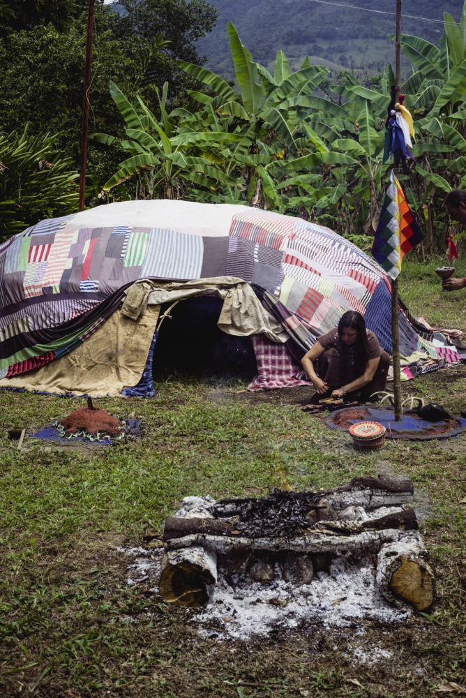 "The sweat lodge, or 'Inipi"", meaning ""to be born again"" in Lakota, is the place where visionaries begin their 4 day Vision Quest. Through sweating, chanting and praying, temporarily leave behind the world, their fears, their emotions, their sustenance, and their comforts in order to purify and receive the visions from the spirit of the mountain. Here they begin the four day fast without food, water, sleep, and speech."