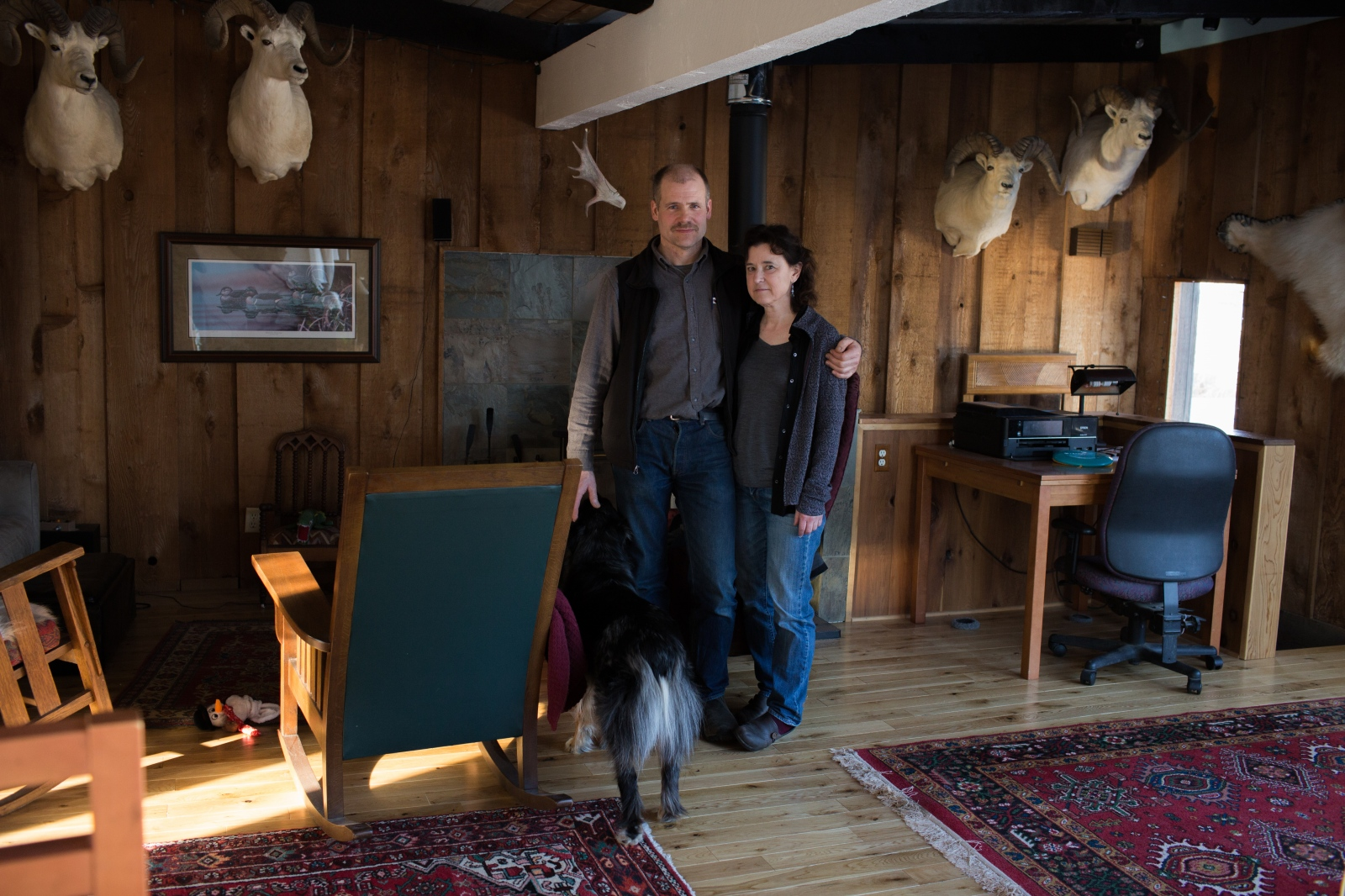 Andrew Hawk and his girlfriend, Jen Jolliffe, in their home in Anchorage.