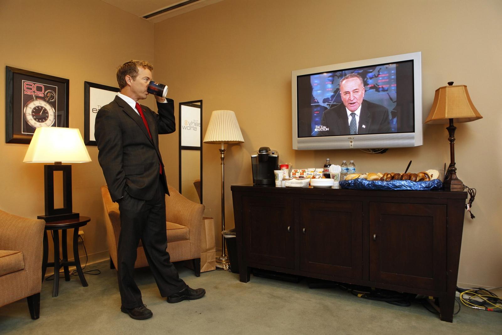 SenatorRand Paul waits to go on Face the Nation.