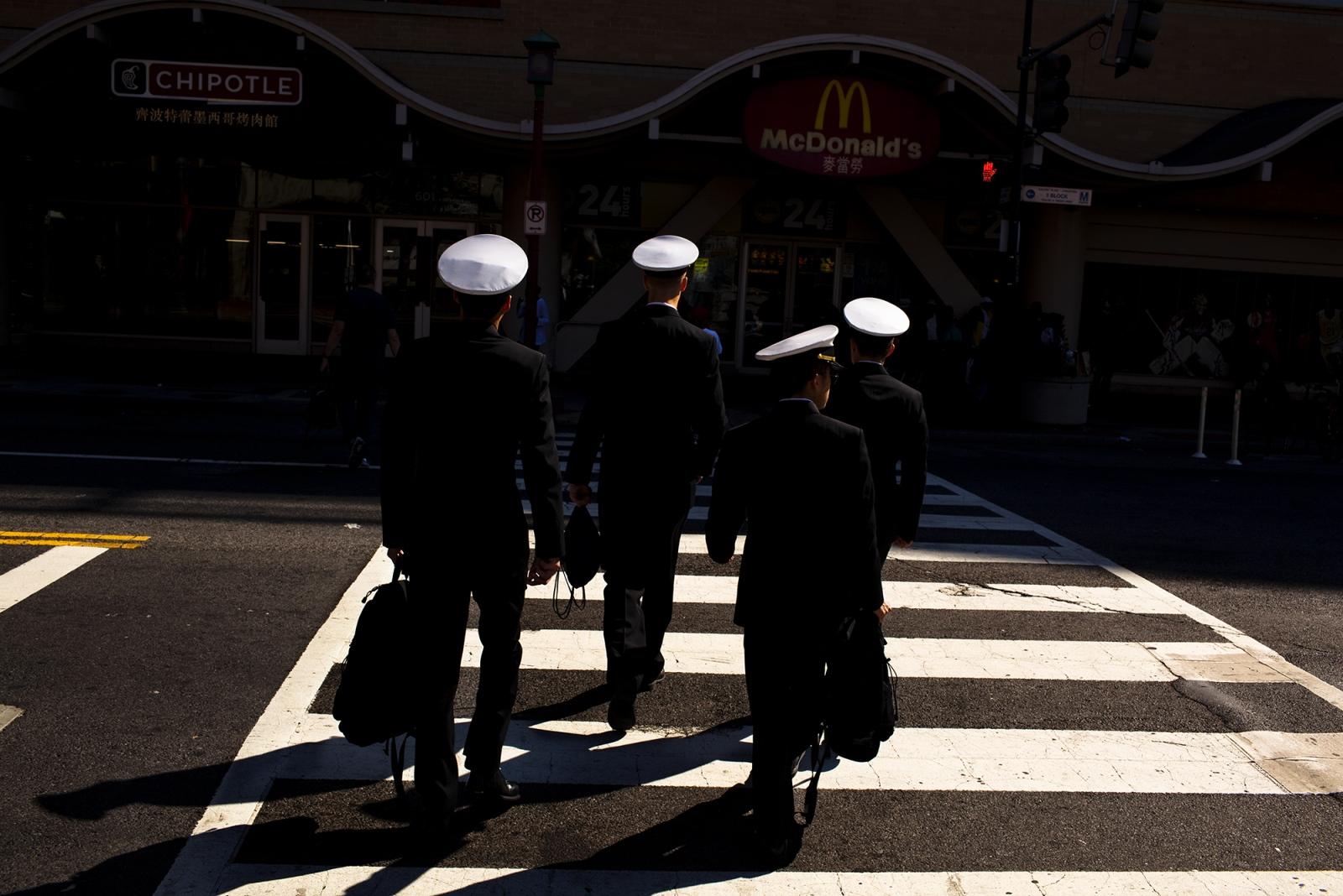 Sailors cross 7th street,Washington D.C.