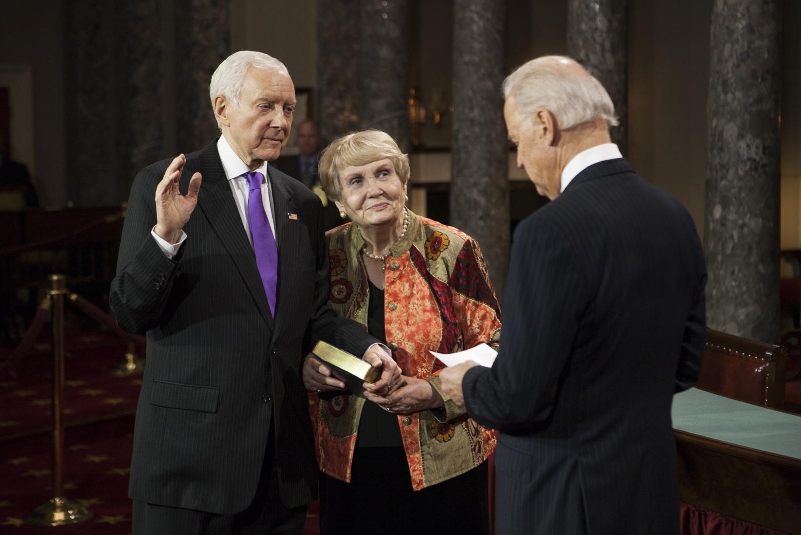 Senator Orrin Hatch, with his wife Elaine, being sworn in by then Vice President Joe Biden.