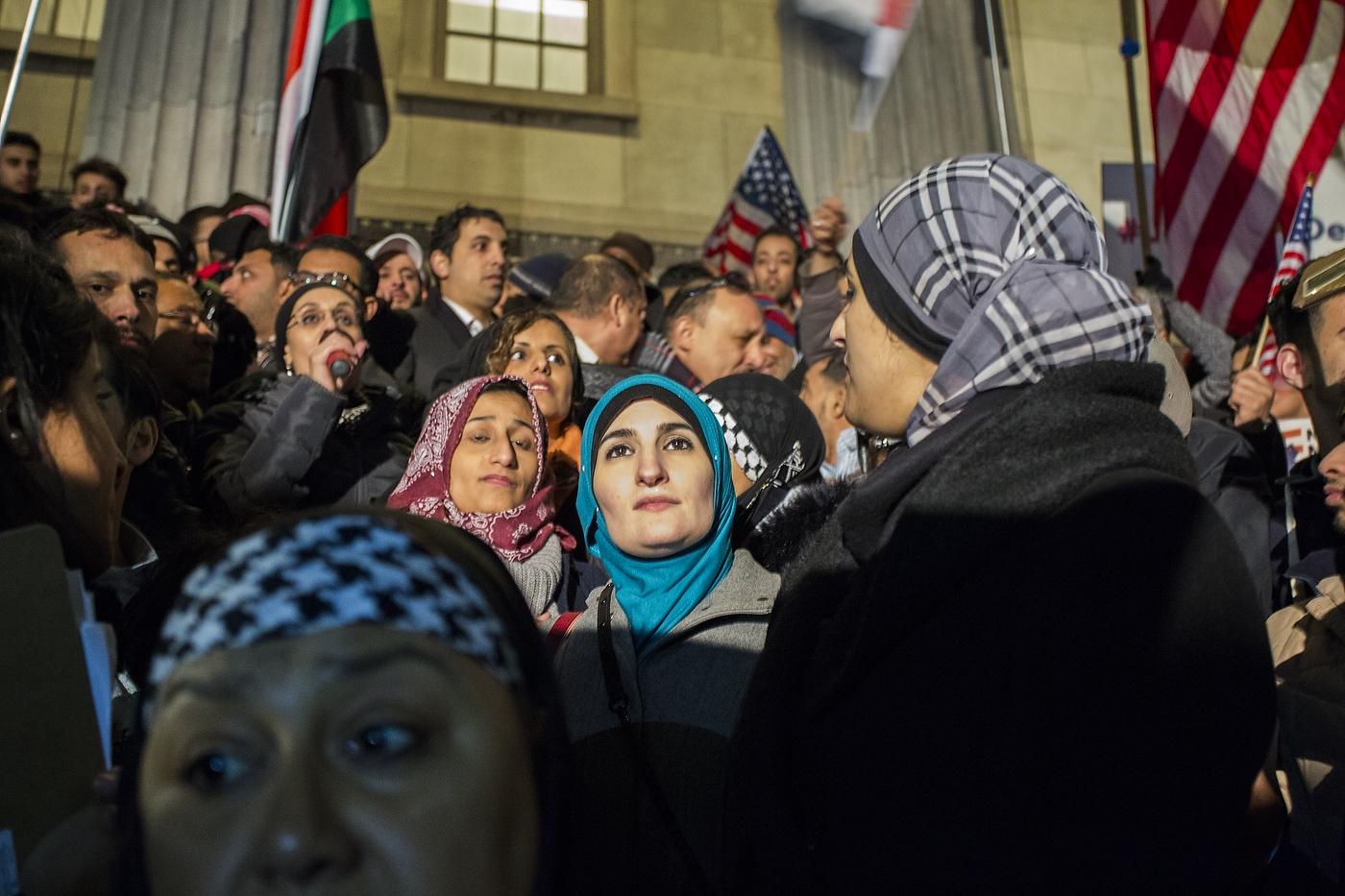 Linda Sarsour (C) is Palestinian-American...