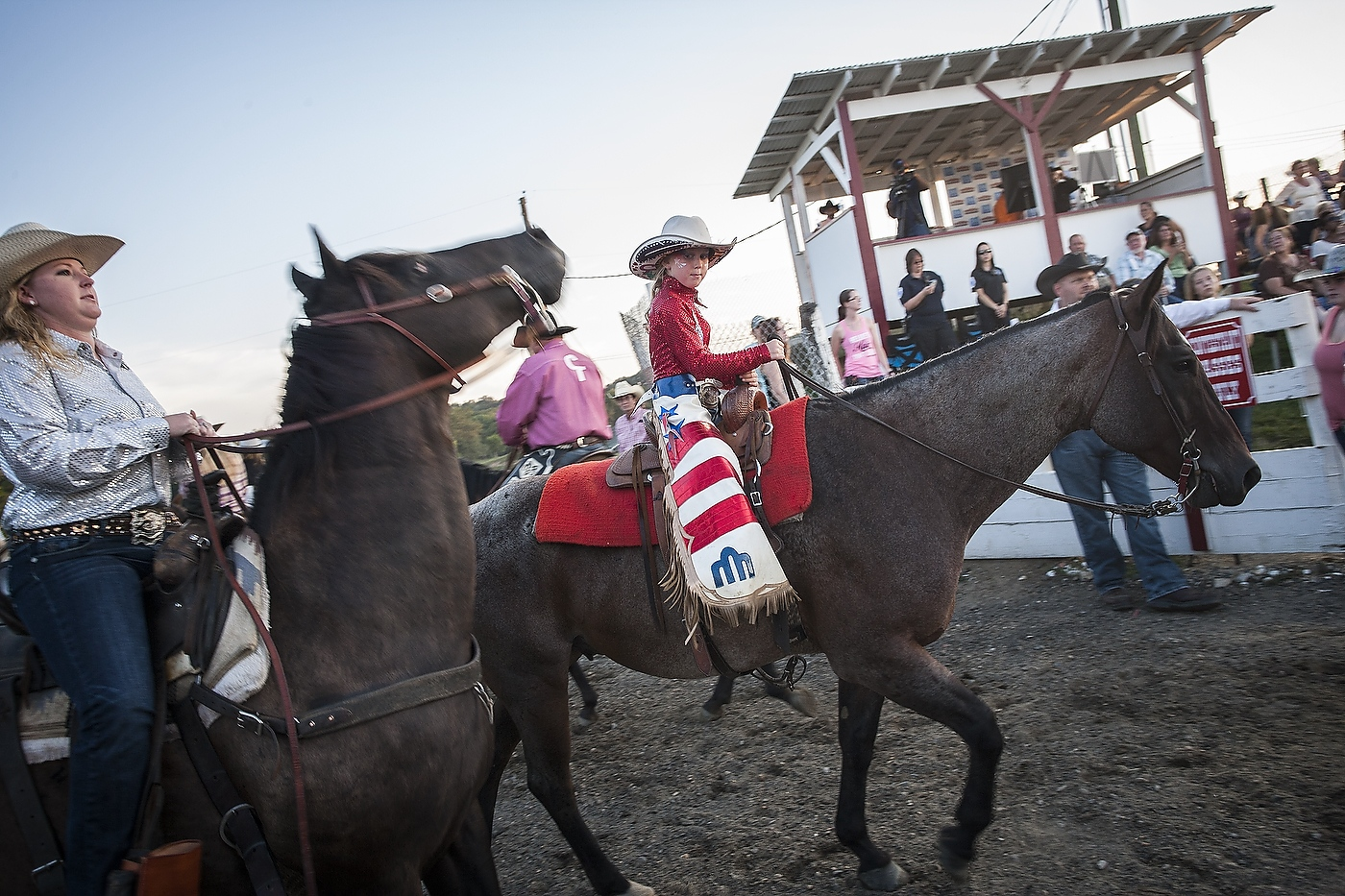A cowgirl at the Cowtown Rodeo in Woodstown,...