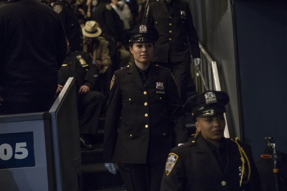 Photography image - Officer Samantha Edelstein at the graduation Over 600 new NYPD police officers today at Madison Square Garden in New York, with the largest number of female recruits becoming police officer March 30, 2017. Of those graduating, 21% were born outside of the U.S. and 22% were women. (Kevin C Downs/Agence Cosmos)