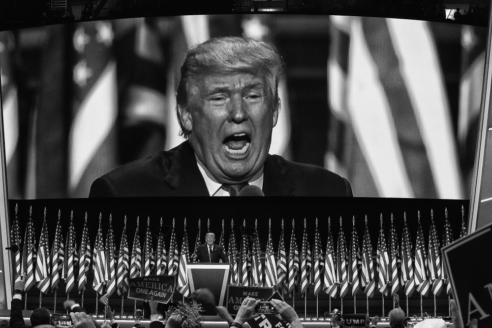Photography image - Welcome to Trumpland, Republican Presidential nominee Donald Trump receiving the nomination for President of the United States at the Republican National Convention in Cleveland, Ohio July 21,2016 (Kevin C Downs/Agence Cosmos)