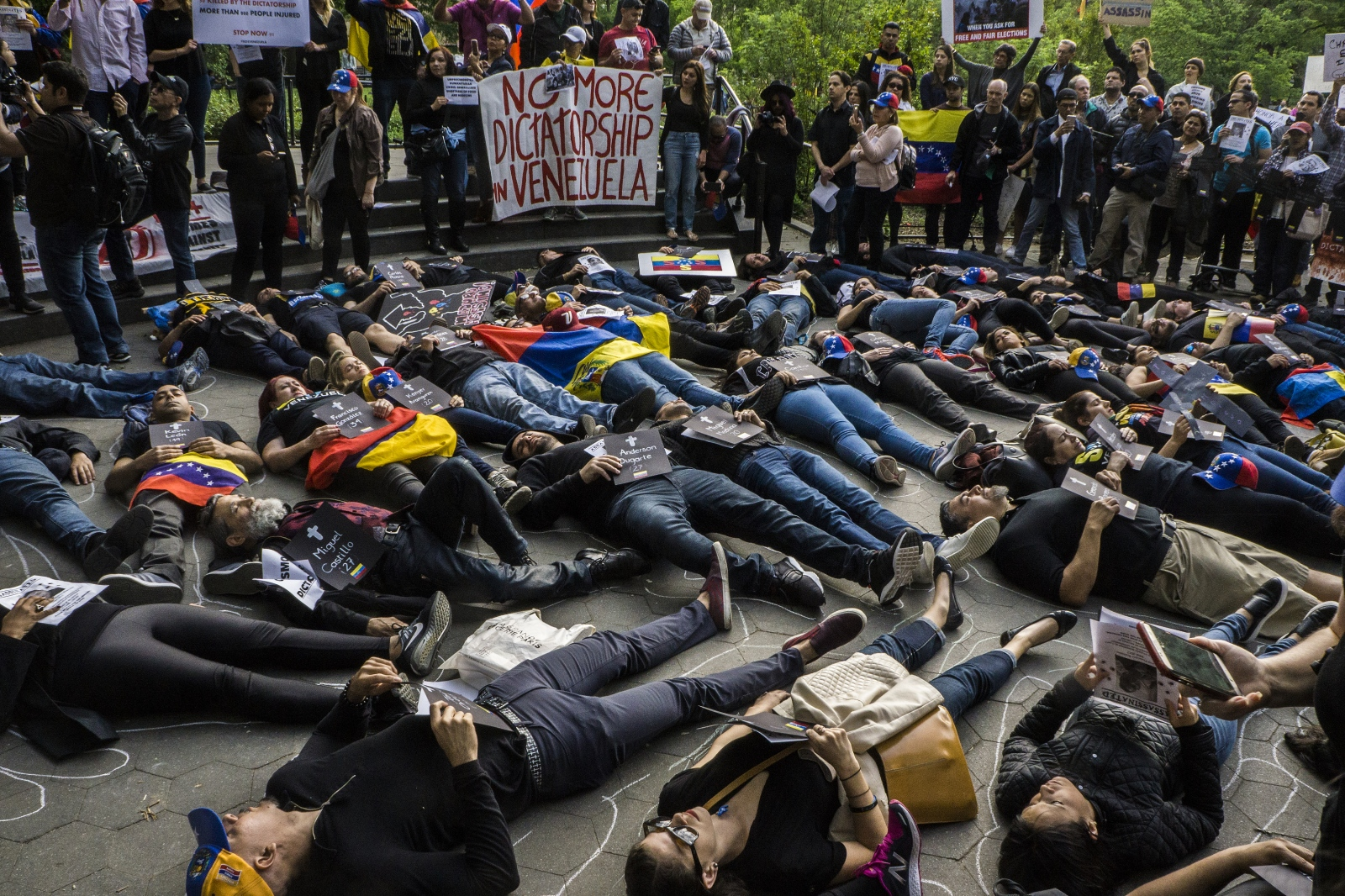 Protesters gather in Washington Square Park on...