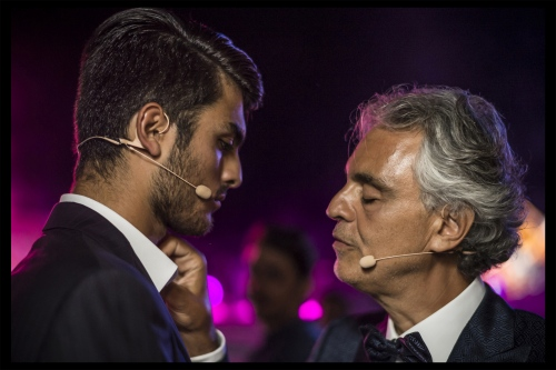 The tenor Andrea Bocelli, with his son Matteo, in Teatro del Silenzio
