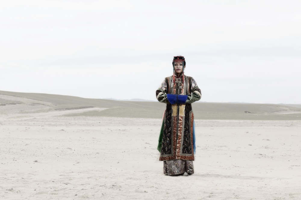 Chinzorig, 23 years old, on a traditional mongolian queen costume