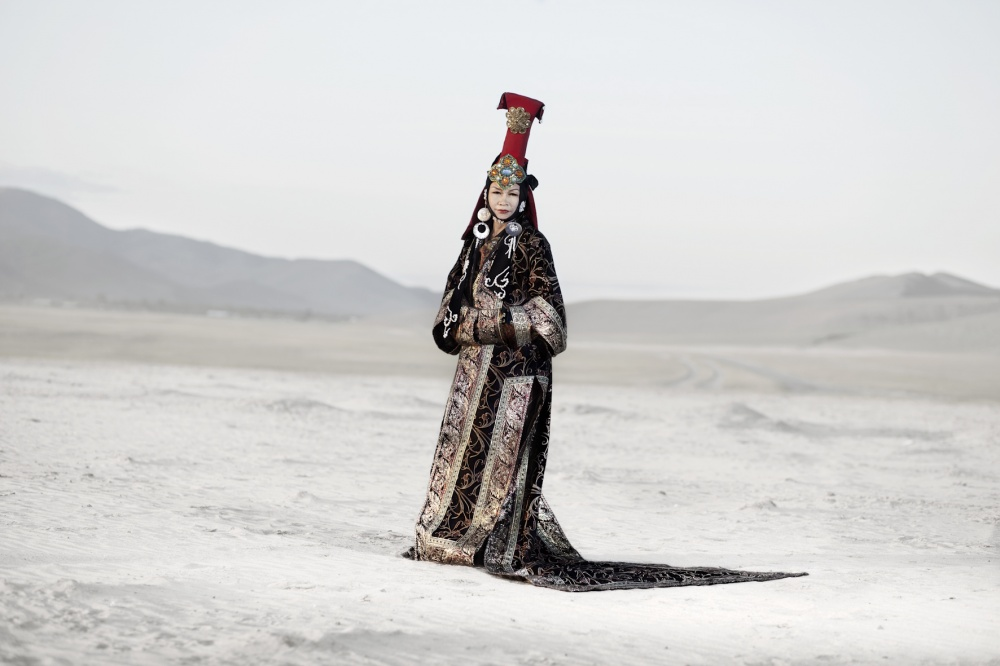 Gambush, 67 years old dressed with a traditional mongolian queen costume