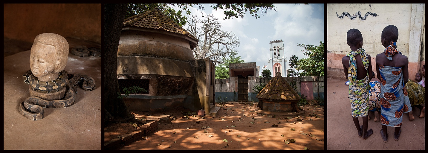 The Vodoukon ceremony is a hommage to Dangbe, the most sacred voodoo divinity for the Houedas. That God is incarnated by pythons. Facing the temple of pythons, a Basilica was built by catholic missionaries from 1903. Inside the temple, and all across the city of Ouidah, pythons can go around freely. They are sacred for the Houedas people. ©Laeïla Adjovi