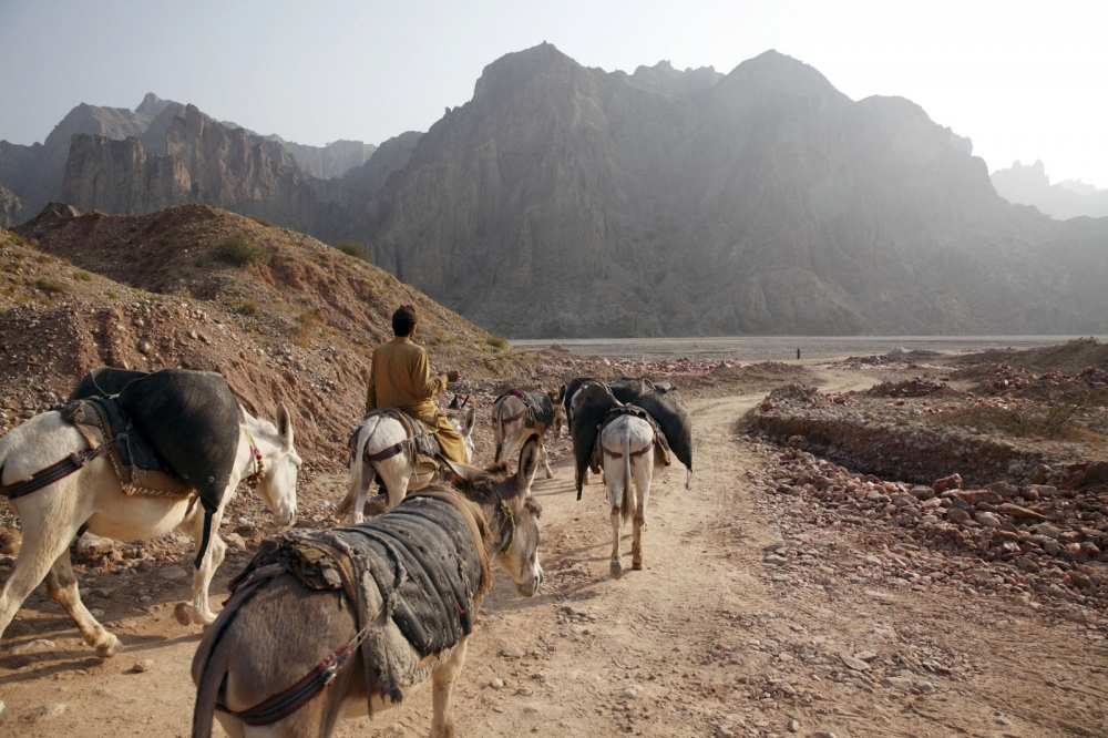 Inside the remote Kalabagh salt mine donkey's are still used to reach the areas unaccessible to trucks. The Kalabagh mine is one of the most remote salt mines in Punjab Province and has developed slowly due to its proximity to the dangerous Pakistani Tribal areas. Punjab, Pakistan.