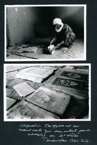 Abderahim Haidara with his ancient manuscript going as far back as the 14th century. Timbuktu, Mali, 2014. ©Laeïla Adjovi