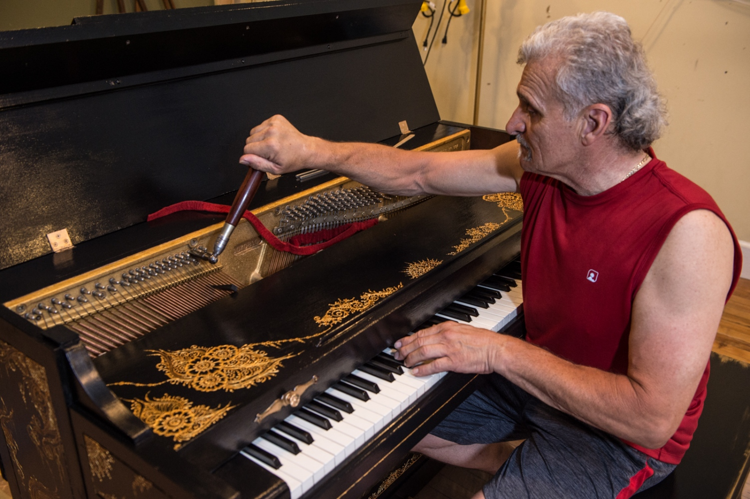 Joe Cacheiro was the piano tech who gave his time to get every piano playable. Joe tunes each piano using nothing but a tuning fork, tuning wrench and a tongue depressor.
