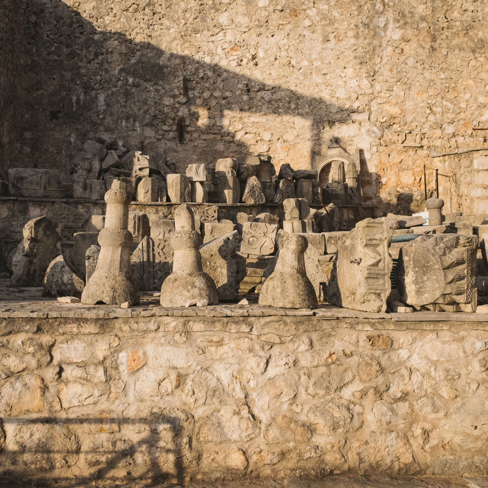 Ruins of the old mosque destroyed during the war.