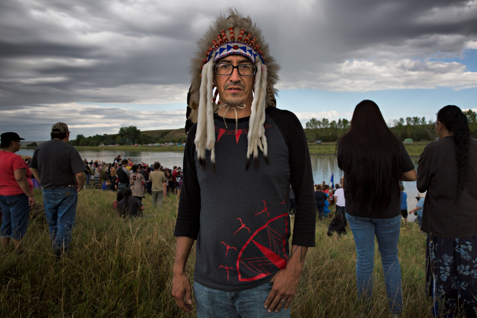 September 8, 2016- Cannon Ball, North Dakota, United States:Catcher Cuts the Rope, from Hays, Montana, wore his war bonnet given to him after he returned from Iraq War where he was wounded in the Battle of Fallujah.