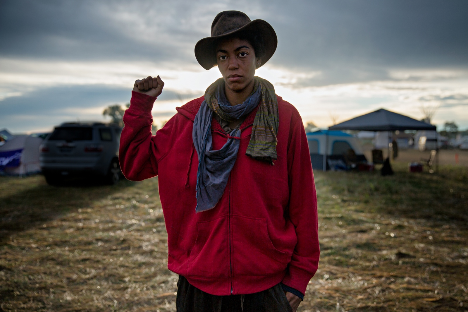 September 8, 2016- Cannon Ball, North Dakota, United States:A supporter of the NoDAPL movement in the Oceti Sakowin Camp.