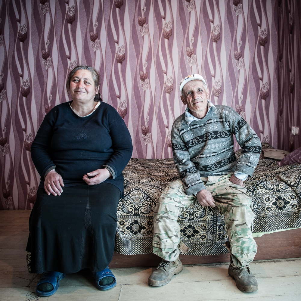 "Davit Beruashvili, 66, and Liana Tedeevi, 58, live in Shavshvebi, one of the refugee container camp built up by the Georgian government. ""We lost everything during the war and they settled us here. Every government promised to help us, but governments constantly changed and nothing happened."""