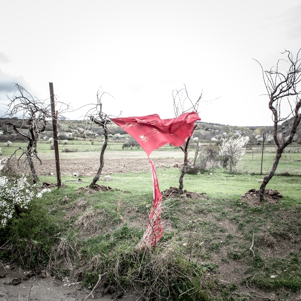 A red drape in the village of Khviti, next to the Ossetians border.