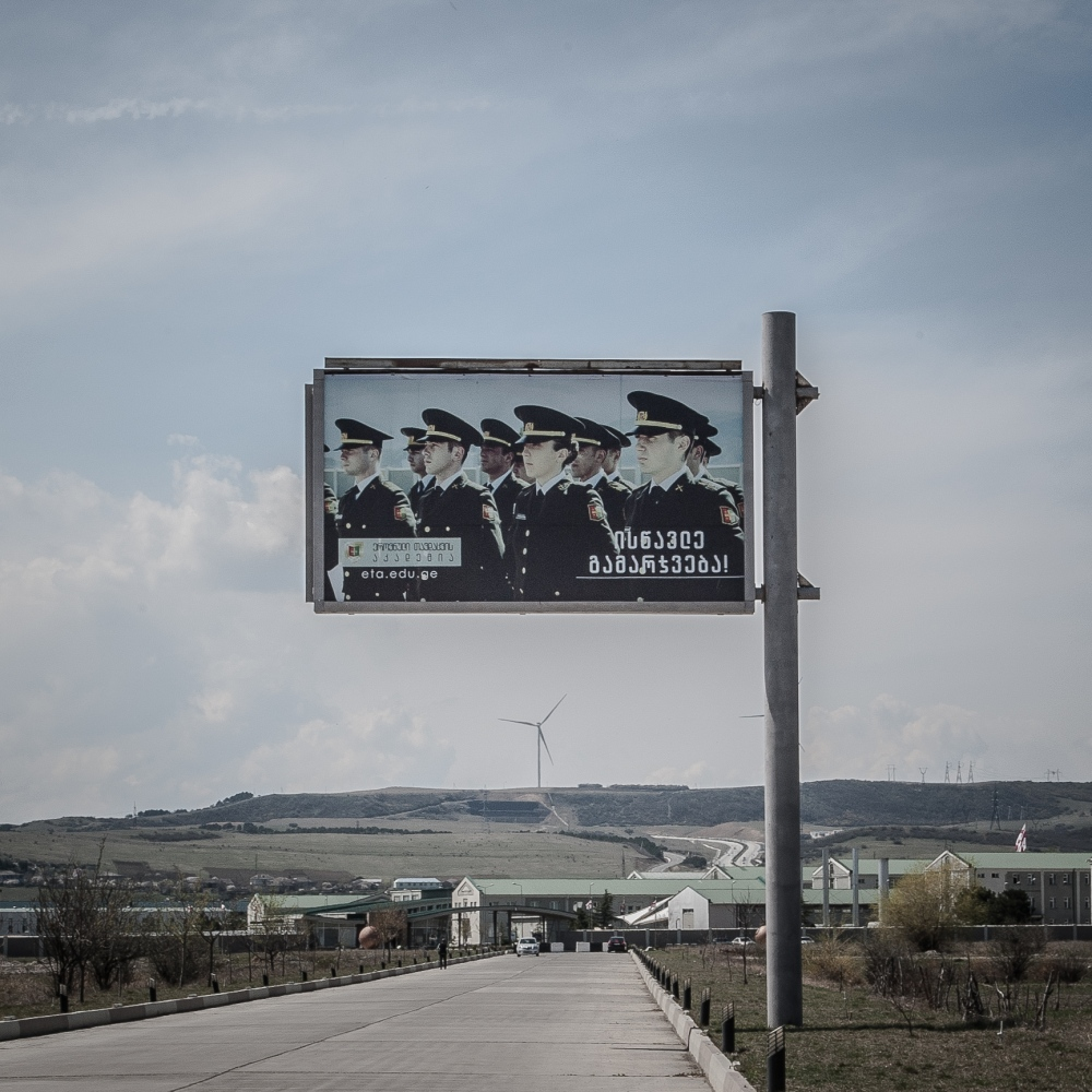 A manifesto in front of a Georgian military base next to the border with South Ossetia.