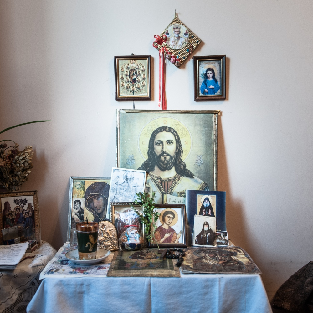 Traditional Ortodhox icons in an house in the village of Tserovani, one of the refugee container camp built up by the Georgian government.
