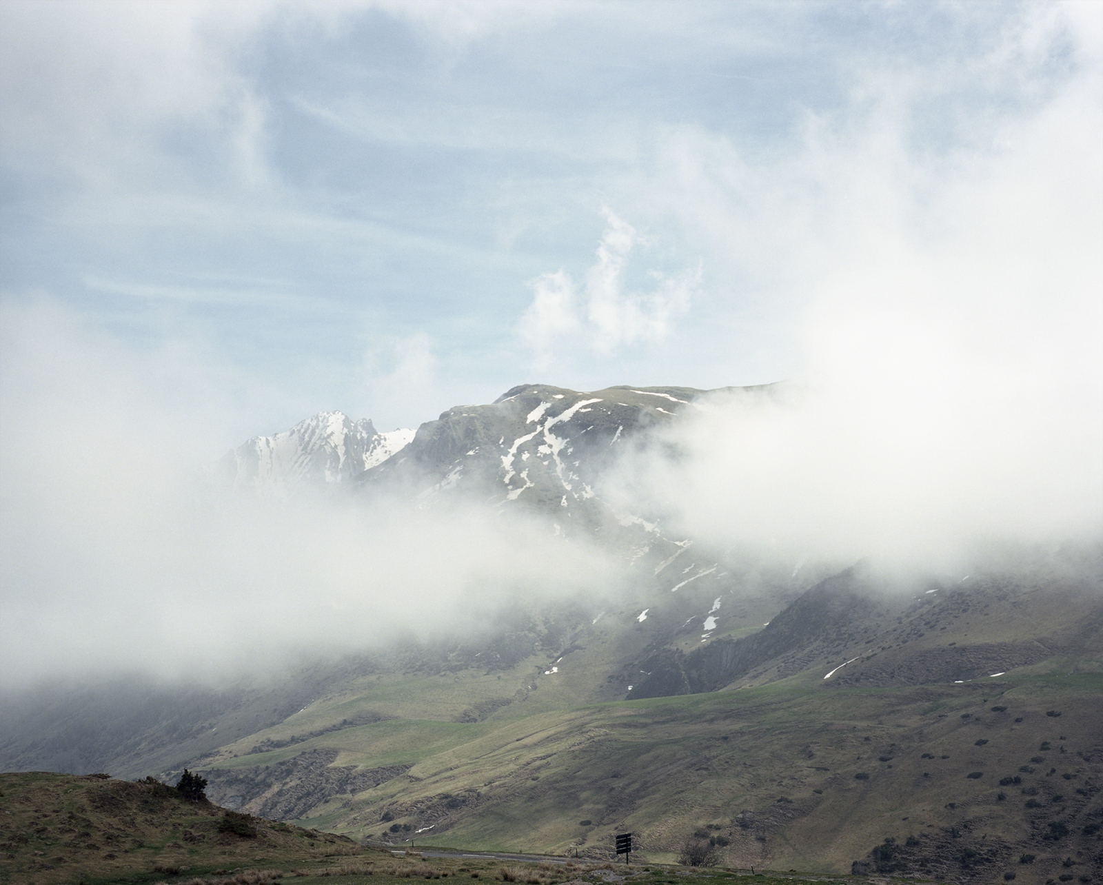 France,Aulus-Les-Bains. A view of the Pyrenees from the col d'Agnes.The legend by the Greek mythology recounts that the name of the Pyrenees Mountains come from Pyrene, the daughter of Bebrex. The mountains would be a monuments built by Hercules to pay homage to his beloved Pyrene.