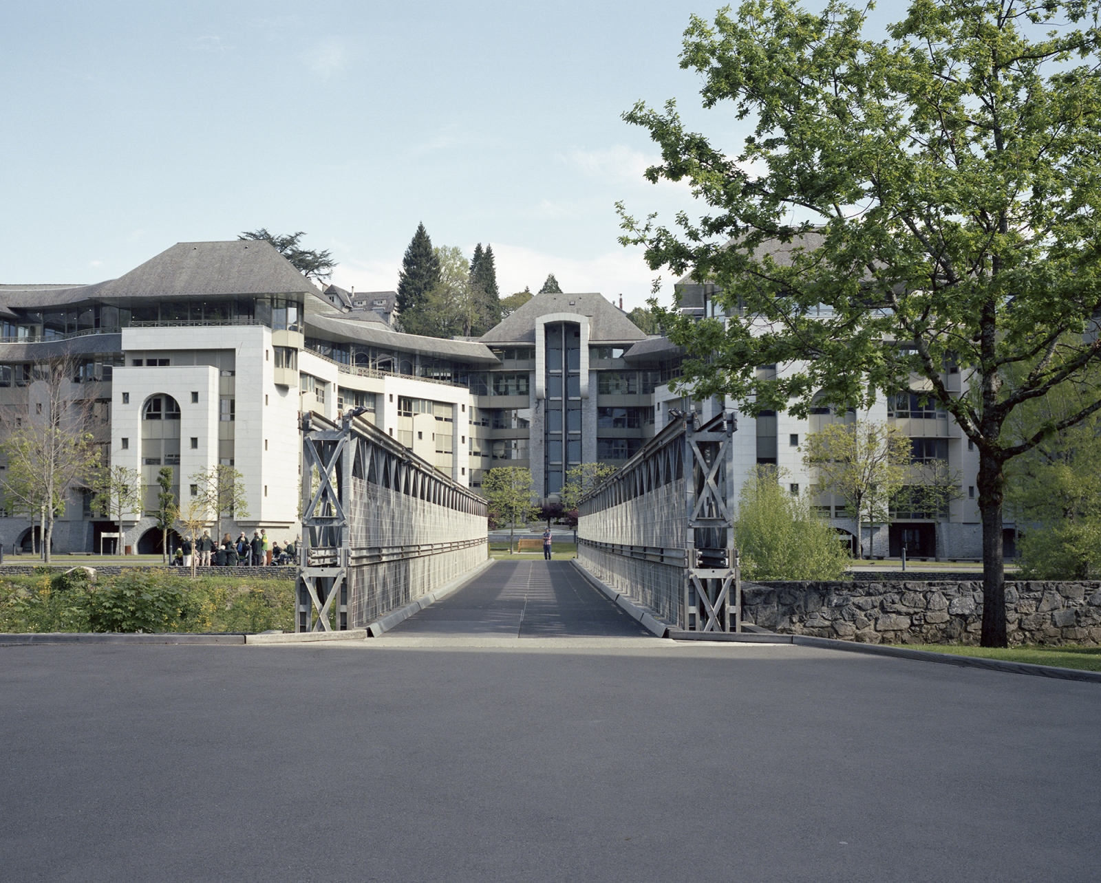 France,Lourdes. A view of a building of the Sanctuary of our Lady of Lourdes. Every year 5 milions of believers visit the sanctuary. The religious tourist is the main income of the whole area.
