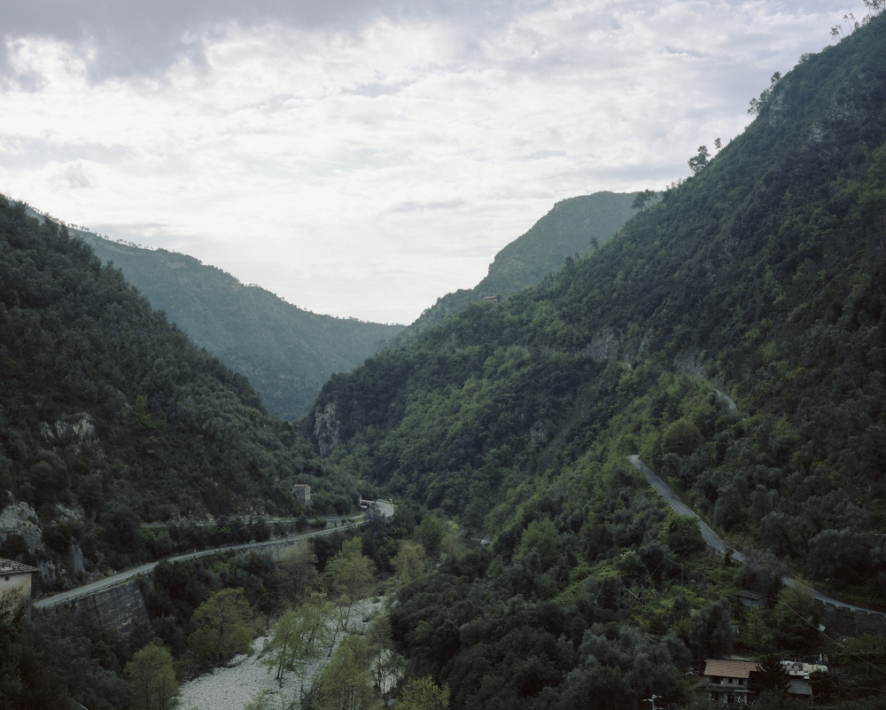 Italy, Airole. A view of the Roia River Valley. the valley is also know as the death valley because the high numbers of migrants that died trying to cross the Roia River to reach France.