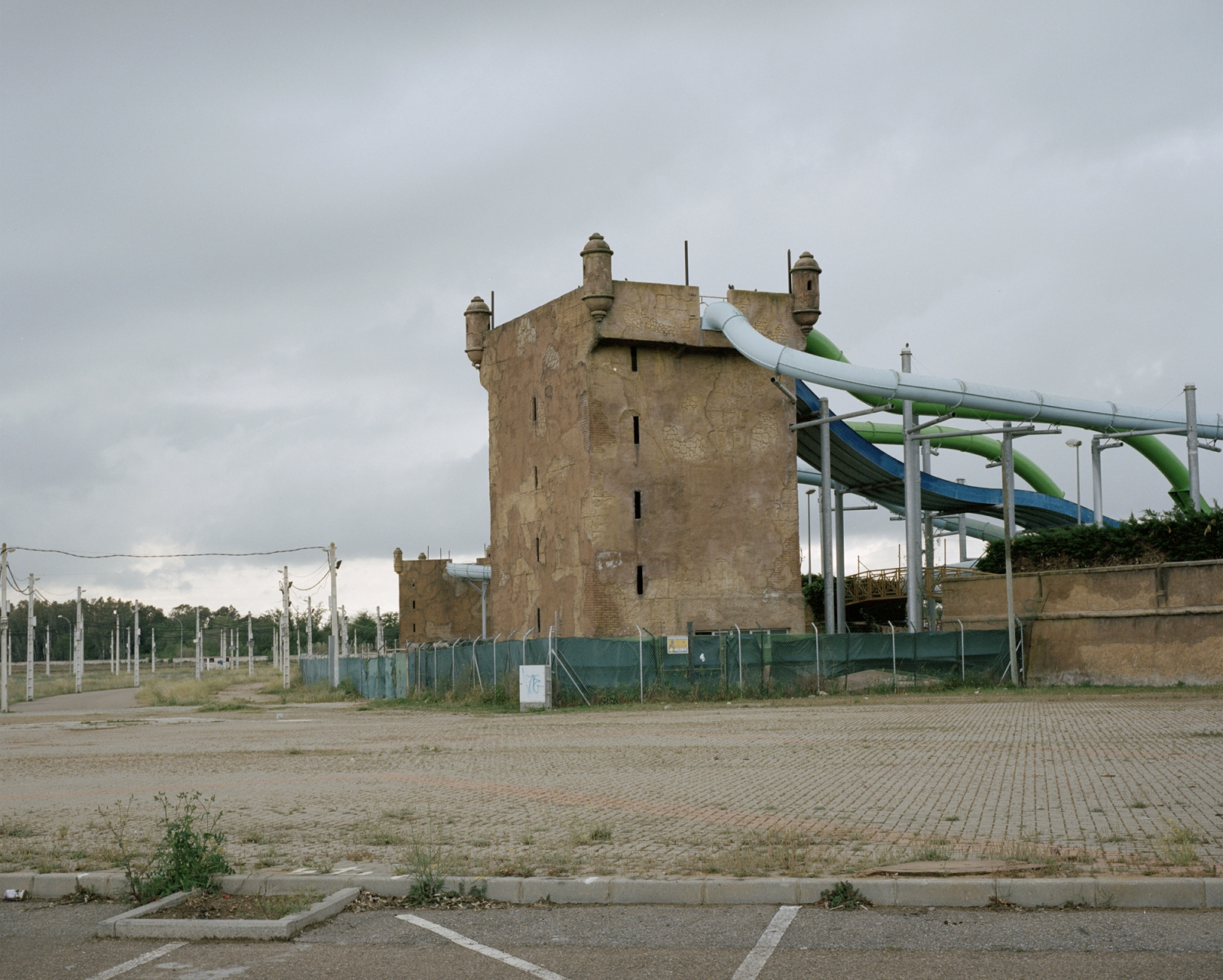 Spain, Badajoz. A water park built with the shape of a middle age castle.