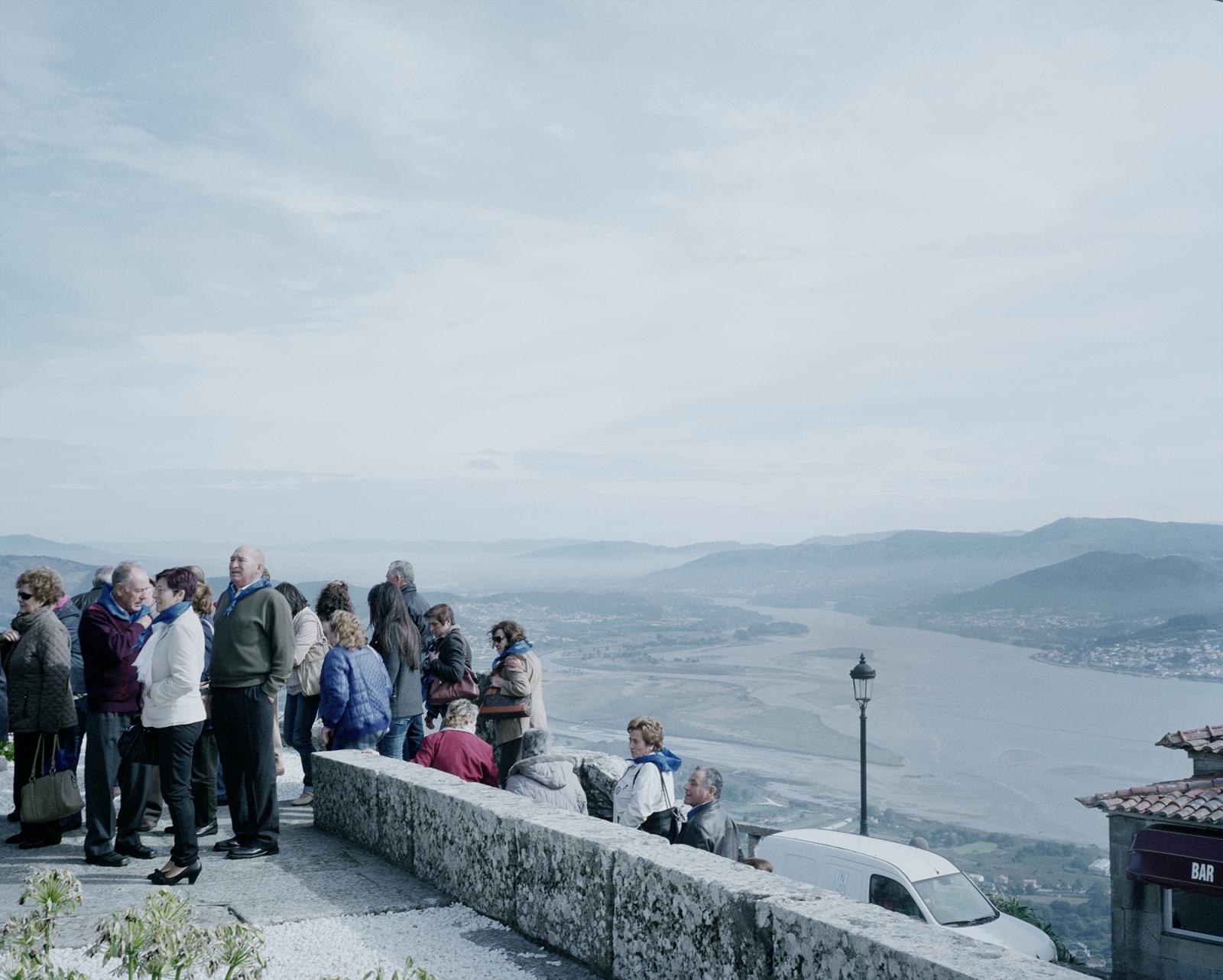 Spain, A Gurada. Tourists visit a catholic sanctuary on the Spanish side of the Minho river.