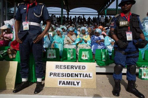 A seating area is reserved for friends and family of President. Eagle Square, Inauguration day ceremony, Abuja, 2015.