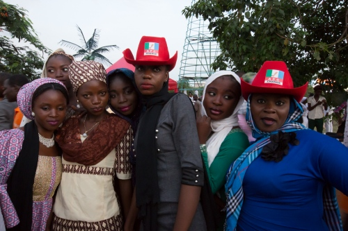 "A group of friends that voted for Muhammadu Buhari gathered at the ""Unity Fountain"" to celebrate his election, Inauguration day, Abuja, 2015."