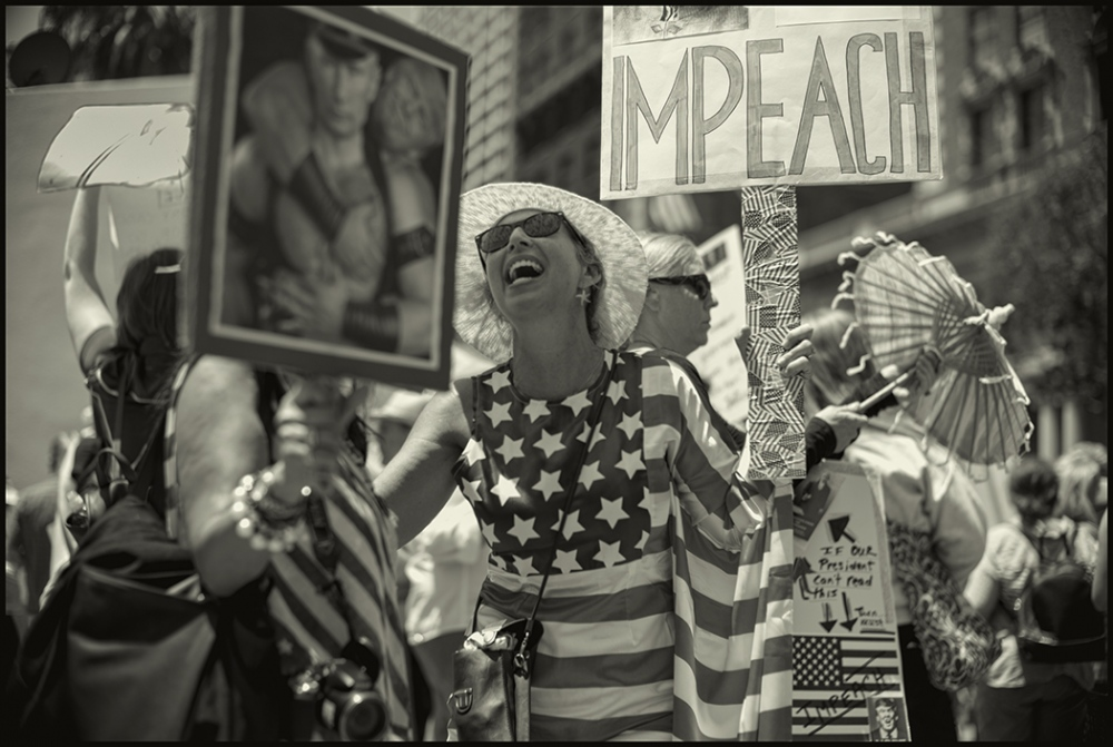 Impeach Protest in which thousands of people participated, Los Angeles,California. July 4, 2017.