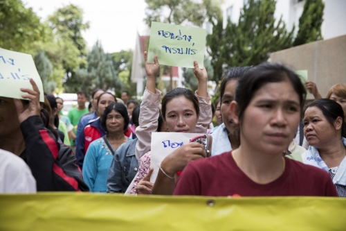 A protest against mining projects by villagers in NE Thailand.  Loei - Thailand