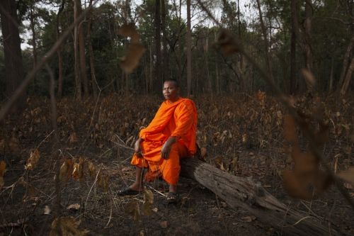 Bun Saluth in the Monks Community Forest that he protected from loggers, poachers and encroachment. This pioneer of the Buddhist environmental movement in Cambodia succeeded in 2002, despite having been threatened with his life, and was able to legally protect 18,261 hectares of evergreen forest now called the Monks Community Forest, which he still safeguards today.  Cambodia