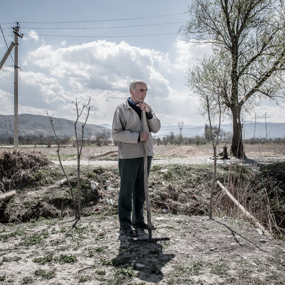 An old man rests form work in the village of Sveneti, one of the refugee container camp built by Georgian government.