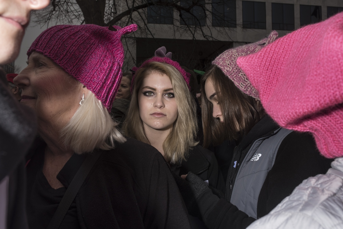 Where To Now? In DC Women's March on Washington, the day after President Donald Trump's inauguration.  Portraits of the disbelief and shock.
