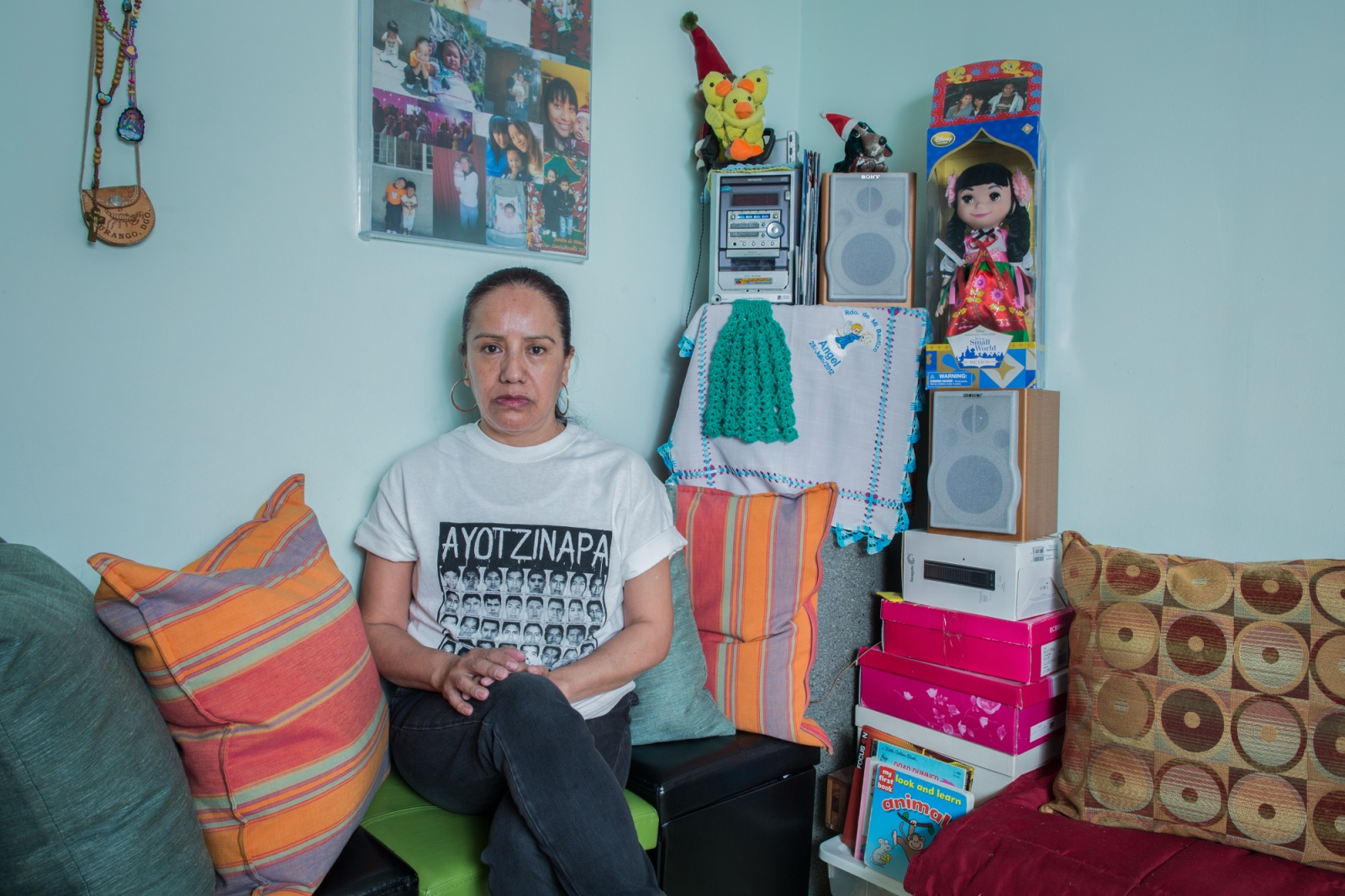 "Alicia Mendieta at her home on the 62nd. St. of Bay Parkway, Brooklyn. Alicia is an activist for immigrant rights in the city of New York. She has been involved in different pro-immigrant organizations. She came to the United States 16 years ago, leaving all of her family back in México. Her grandchildren call her ""la abuelita de las maravillas"" (wonder Granny). She has worked mainly as a nanny."