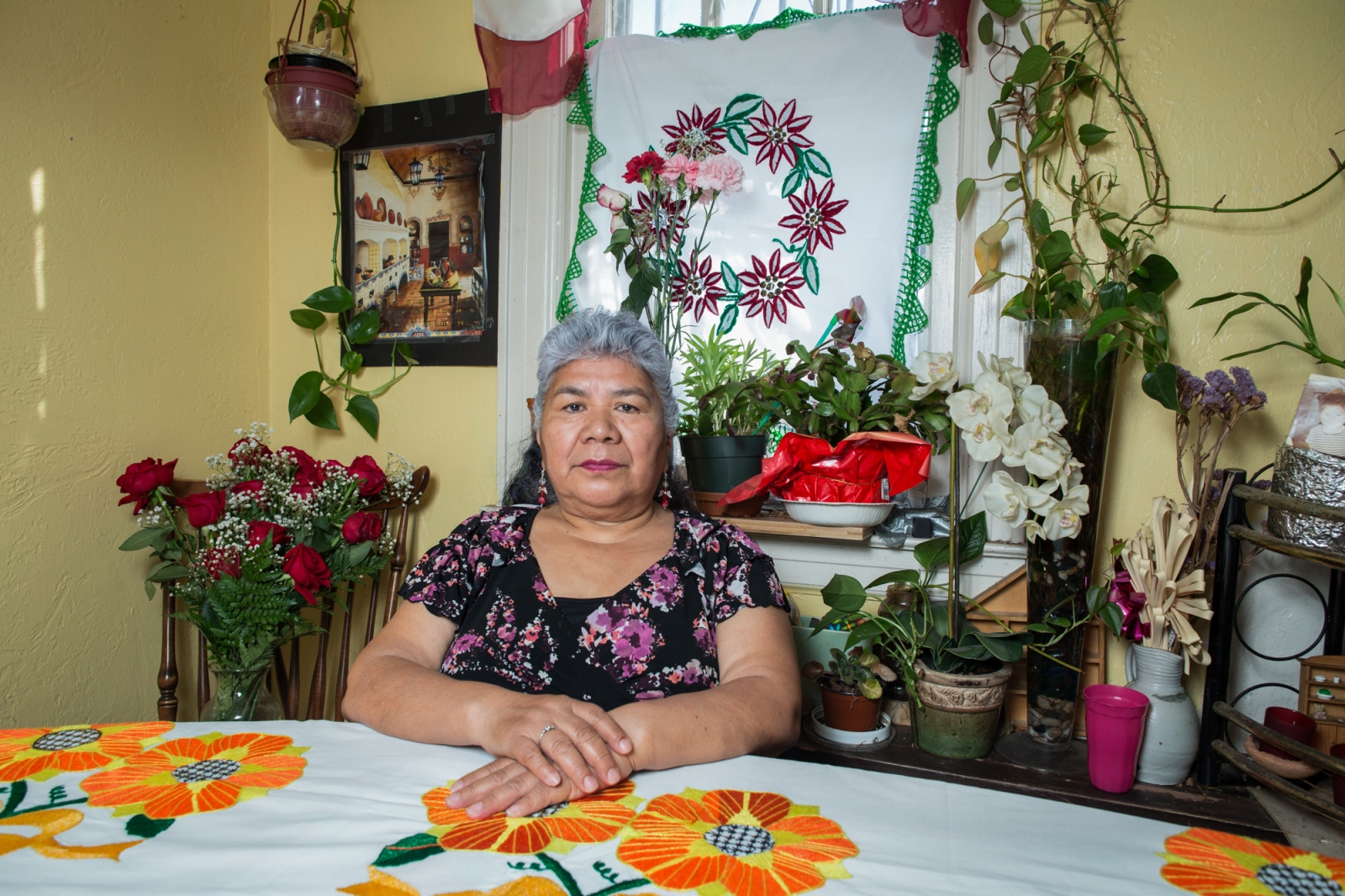 Honorina Moran from Huajuapan De León, Oaxaca, she is 67 years old and lives in Long Island city with her family. Honorina came to New York 12 years ago, crossing the Mexican border to reunite herself with her family because all of her daughters and grandchildren live in the United States.