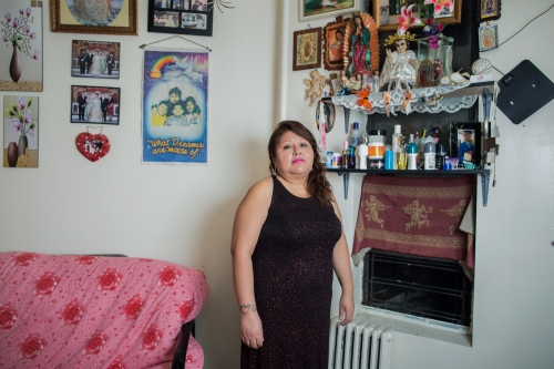 "Yolanda,  Is an activist member of the organization New Sanctuary Movement. She is originally from Xochihuehuetlán, state of Guerrero, México. But for 20 years she has been living in the Bronx. She likes tattoos and cook the traditional food of his town, like the ""pozole""."