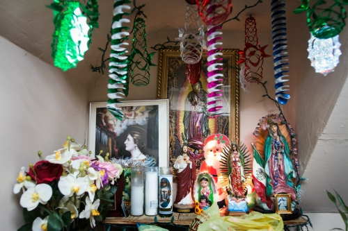 The altar of Dolores with religious images of the Virgin of Guadalupe. Astoria Queens, NY.