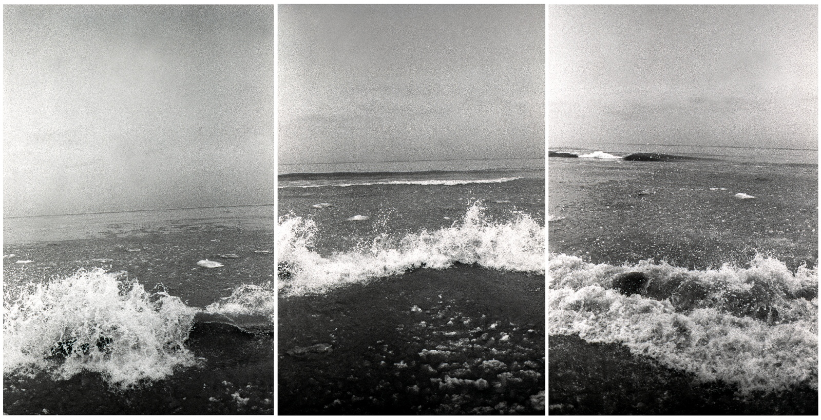 30seconds of Lake Michigan, 2014, 60.96 x 121.92 x .48cm (24 x 48 x 3/16in)  Image triptych on translucent acrylic.  Now Trending Exhibition at Palos Verdes Art Center, Ranchos Palos Verdes, California.