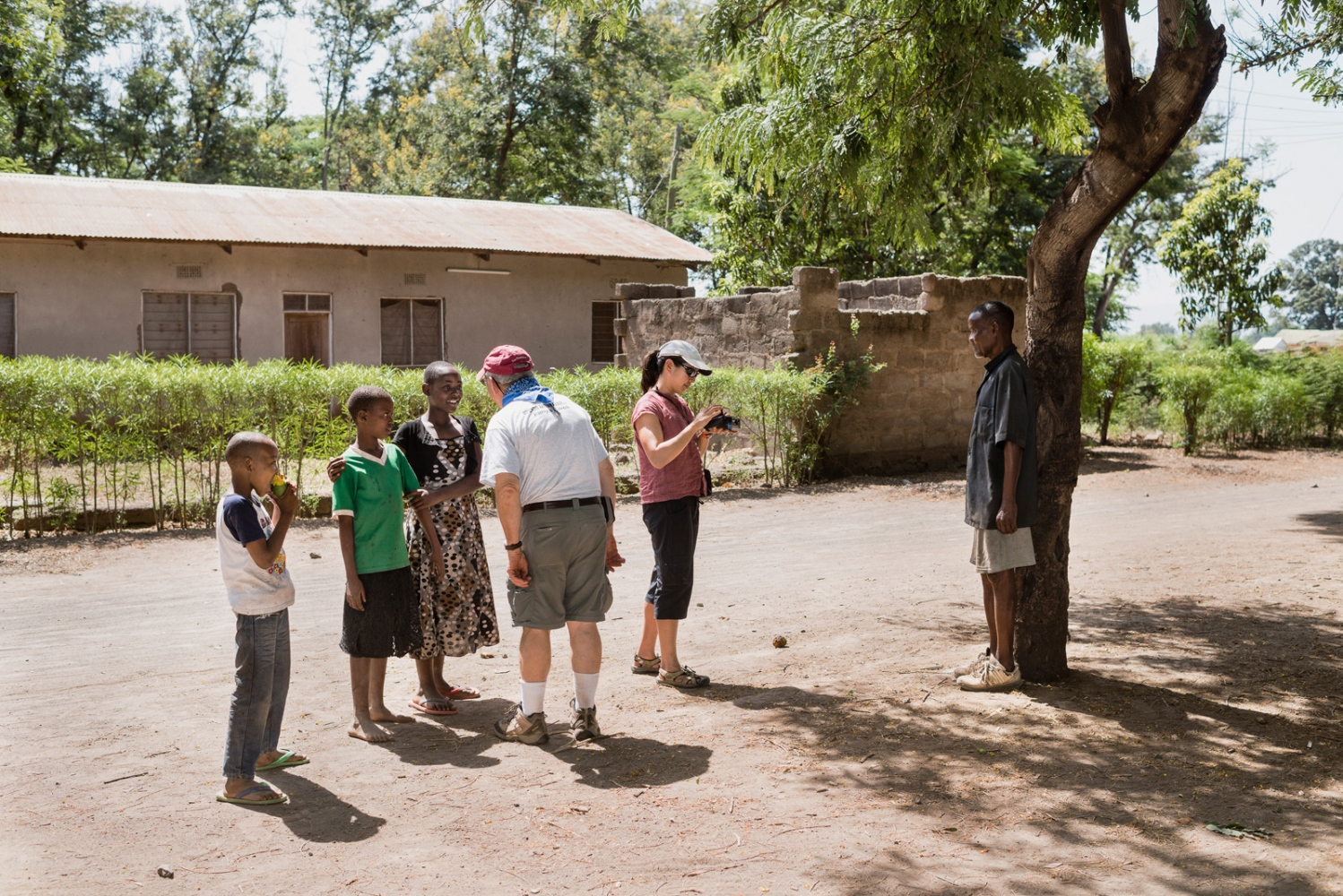 Volunteers on an excursion in the local communities at the foot of Kilimanjaro.