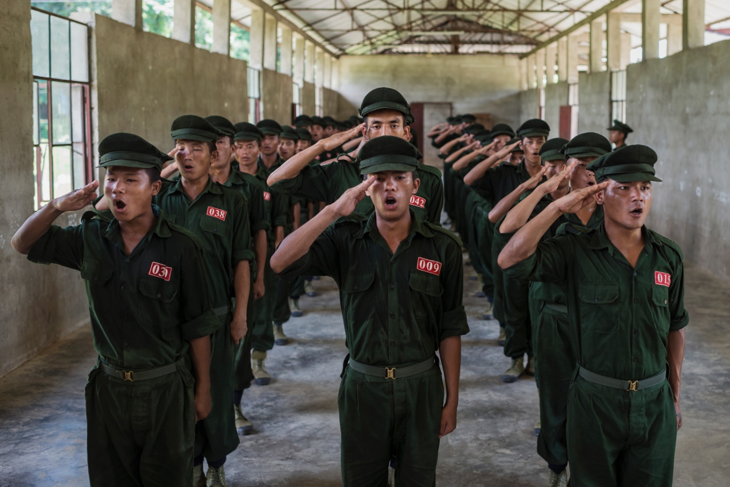 Recruits of the Kachin Independence Armys National Service during daily morning workout in Laiza, the K.I.A. headquarters in Kachin State, Myanmar.