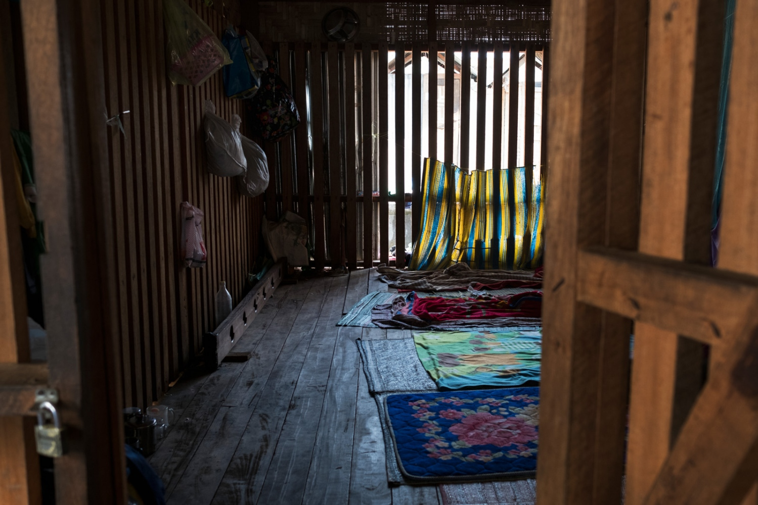 A look into a cage where new clients are put their first week of treatment at one of Pat Jasans drug rehabilitation centers in Myitkyina, Kachin state, Myanmar.