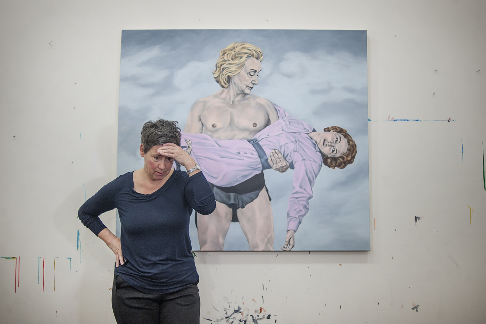 "Sarah Sole is an artist best known for making over sixty paintings of Hillary Clinton since 2008. In her compositions, Clinton is various versions of a protagonist, ranging from Tarzan, Marilyn Monroe, Theodore Roosevelt, and Teletubby. ""The Hillary I know is a woman who is incredibly frank. She can't get away with lying, in part because she's also not very good at it. She is a woman who will be held accountable. No one gives her the benefit of the doubt. And she will be extremely responsive to the public at times, certainly unlike any men that have held power."" The painting pictured, titled ""Tarzan,"" offers an explicit expression that the fate of the trend for women is in Clinton's hands. ""She is a leading indicator. Just like when she was with her husband, and she made the baking cookies comment. Sure enough, no woman in my generation stayed home!"""