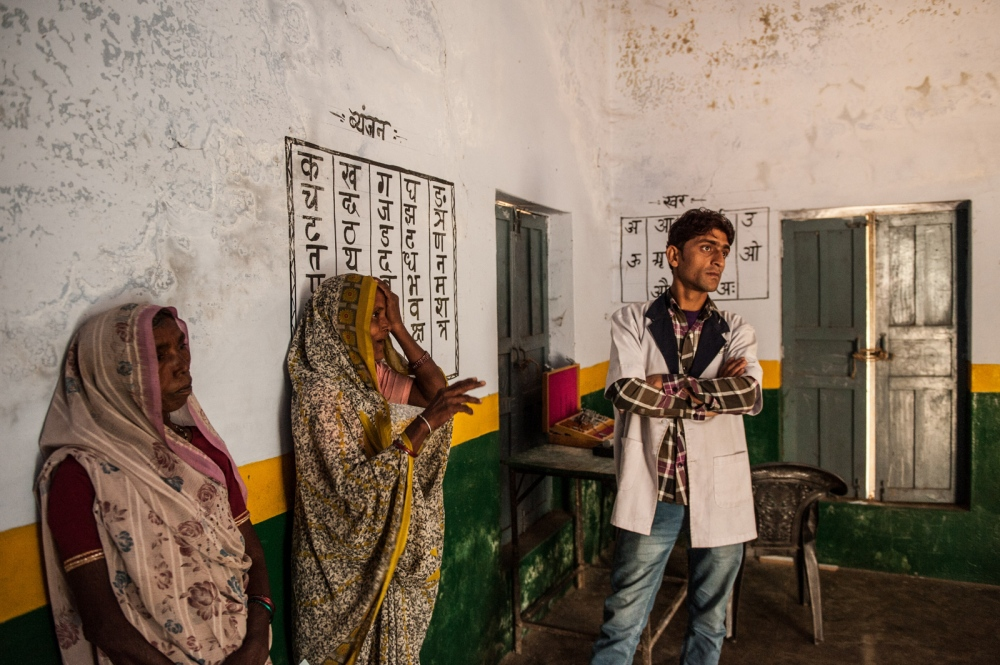 Women undergo eye examinations during a rural outreach clinic in Chitrakoot, India.
