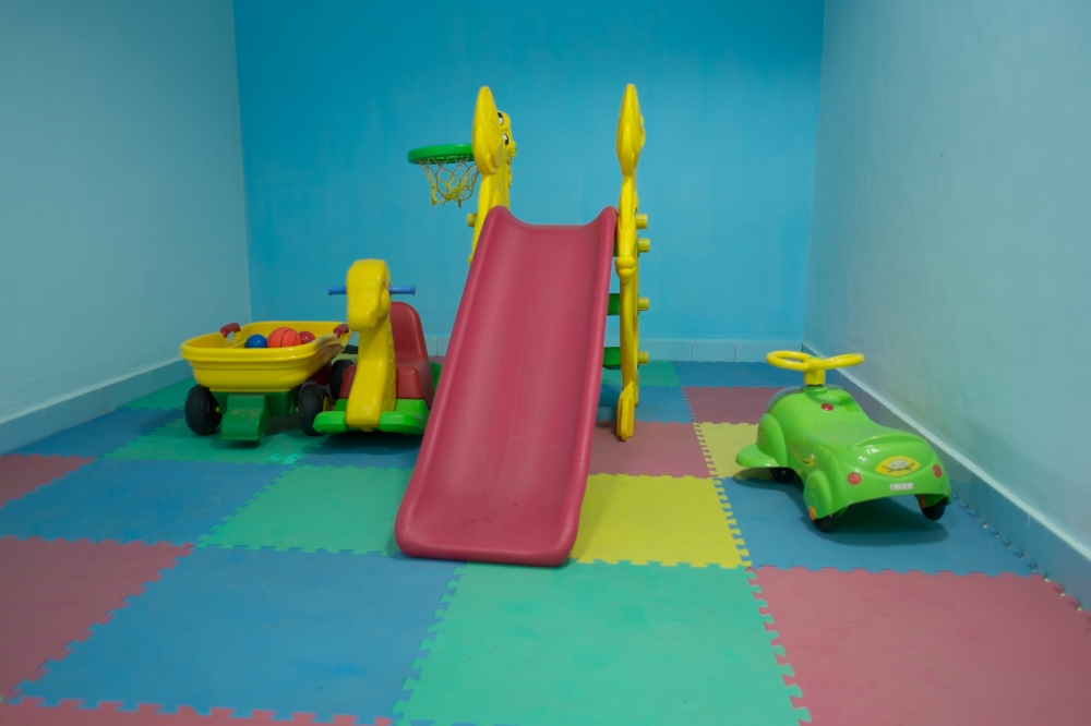 A brightly colored children's play room is available to young ones with impaired vision.