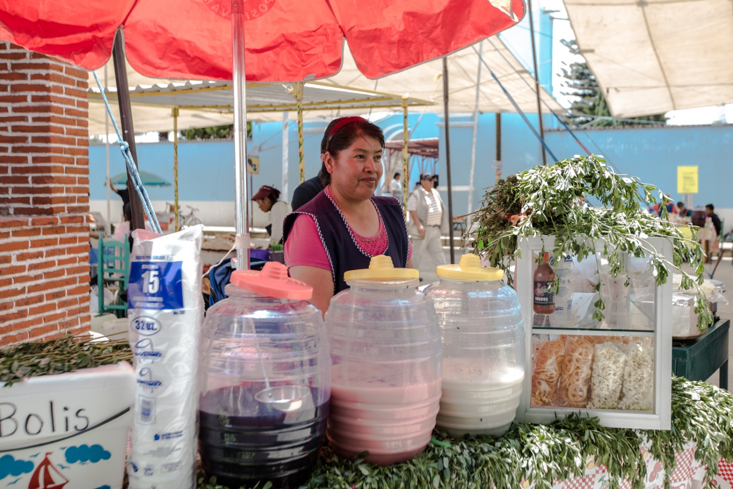 May, 2017. Los Reyes Tlanechicolpan Fresh water made from fruits was sold.