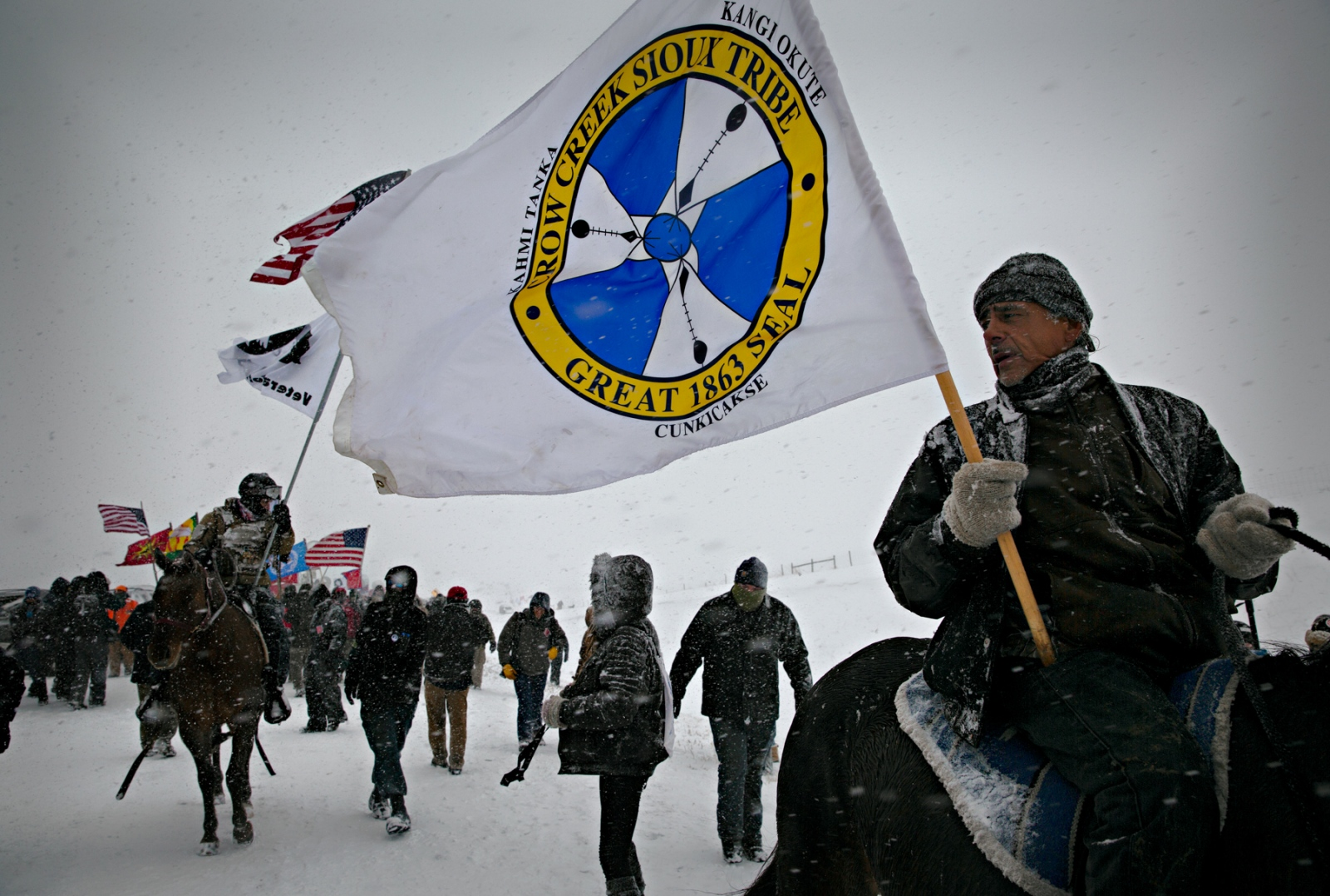 An estimated 2000 military veterans known as Veterans of Peace from around the US arrived at the Oceti Sakowin Camp to provide protection for the Water Protectors against the law enforcement whom they believe to have acted with excessive force against the Native Americans who oppose the Dakota Access Pipe Line.